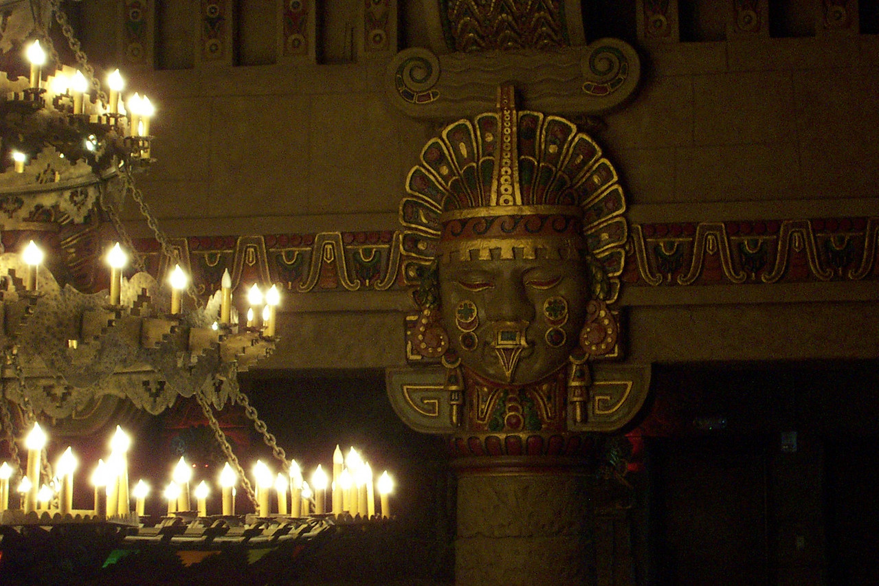 [San Antonio - Aztec Theater]  Several large Aztec heads ring the lobby. They come to life (via projection) and narrate the special effects show.