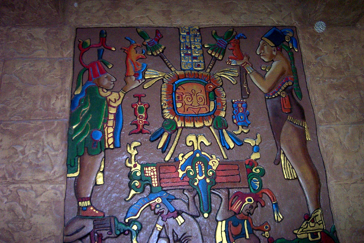 "[San Antonio - Aztec Theater]  A painted frieze on one side of the lobby. The theater's theme is a ""Meso-American fantasy"" (to quote their Web site)."