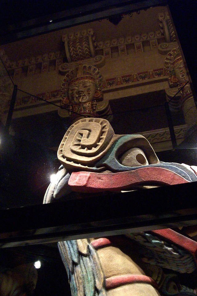 [San Antonio - Aztec Theater]  Downstairs, you can see the animatronic between the shows (you can see one of the Aztec heads up above in this shot).