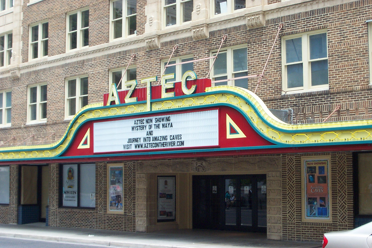 After the hot, hot zoo, I wanted to see the newly-restored & reopened Aztec Theater in downtown San Antonio.
