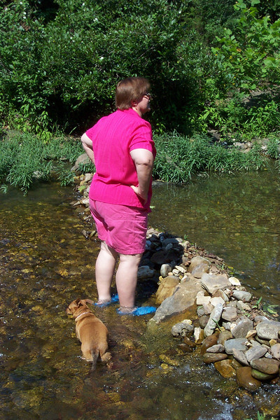 In one section of Cave Creek there was a small dam, which Wendy and Roxy are wading by.