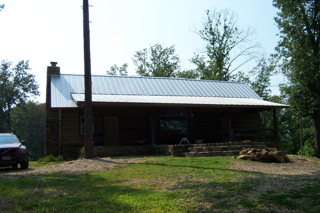 This is the front of the cabin.  A porch extends all the way across the front.