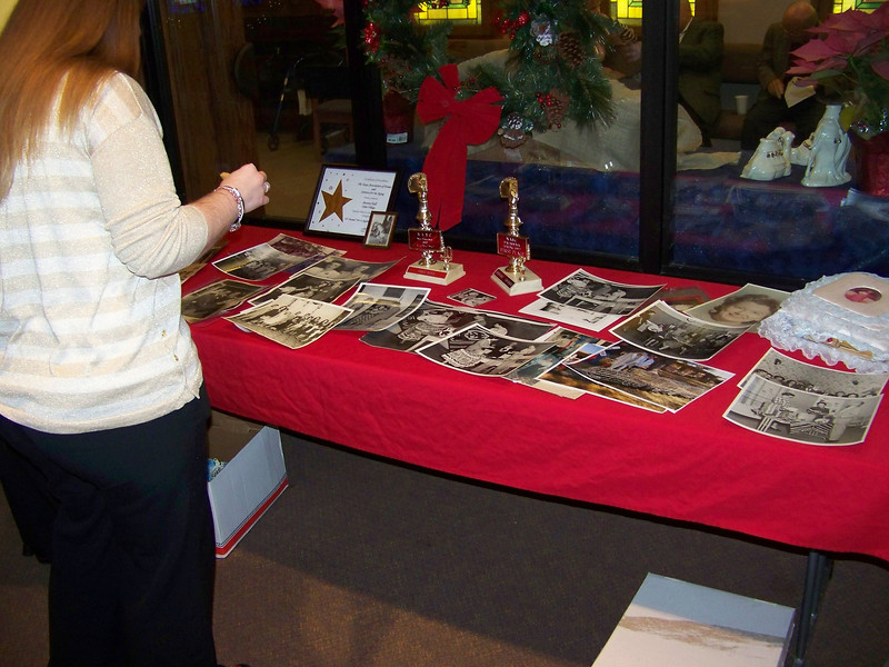 In the back of the chapel, we set up a table to display some of Aunt Pet's awards, scrapbooks, and loose photos.