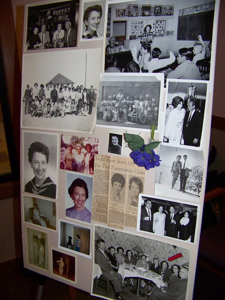 Photo board of Aunt Pet's middle years.