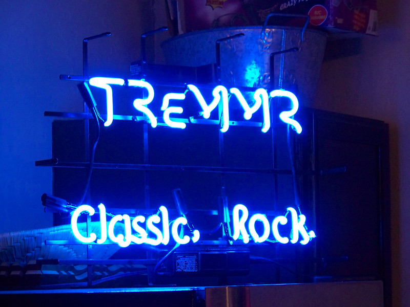 Mike's wife gave him this neon sign with the band's name for Christmas.  It's not quite finished yet--the artist was having a hard time figuring out how to include a seismograph squiggle between the two lines of text.