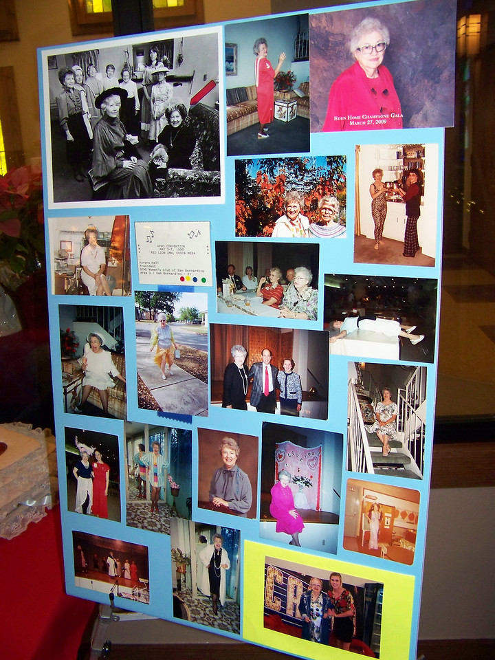 Photo board of Aunt Pet's later years.