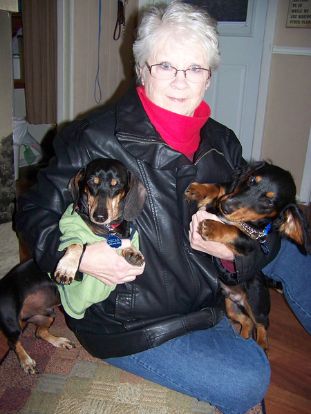 Sheri with her two boys: Oscar (left) and newly-adopted Taz (as in Tasmanian Devil).