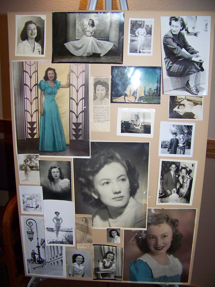 Photo board of Aunt Pet's early years.