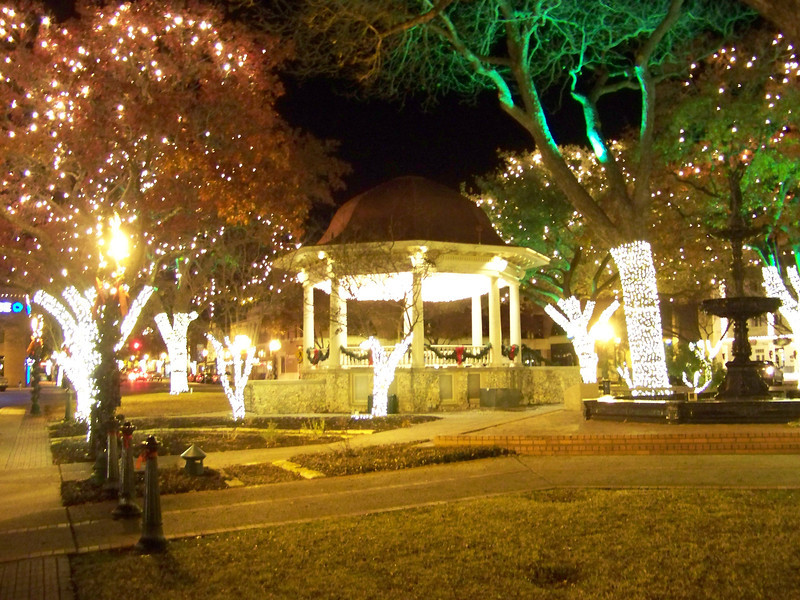 One of the prominent features of the Plaza is this bandstand, which has become a symbol of New Braunfels, due to its shape and distinctive red roof.