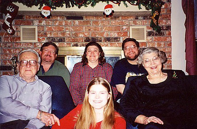 Our Christmas portrait.  Left to right:  Dad, Mark, Wendy, Jenna, Jon, and Mom.