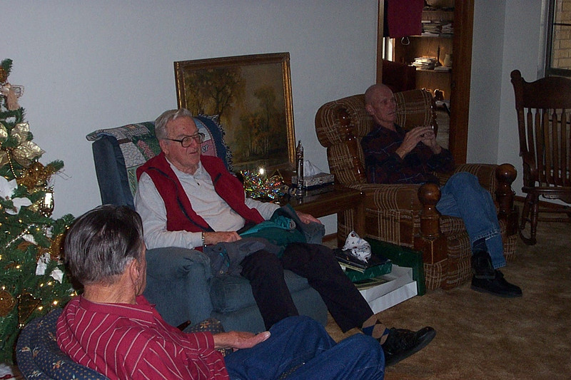 Christmas with the Pfeuffers.  Left to right, my uncle Billy, my dad Ken, and my uncle Franklin.