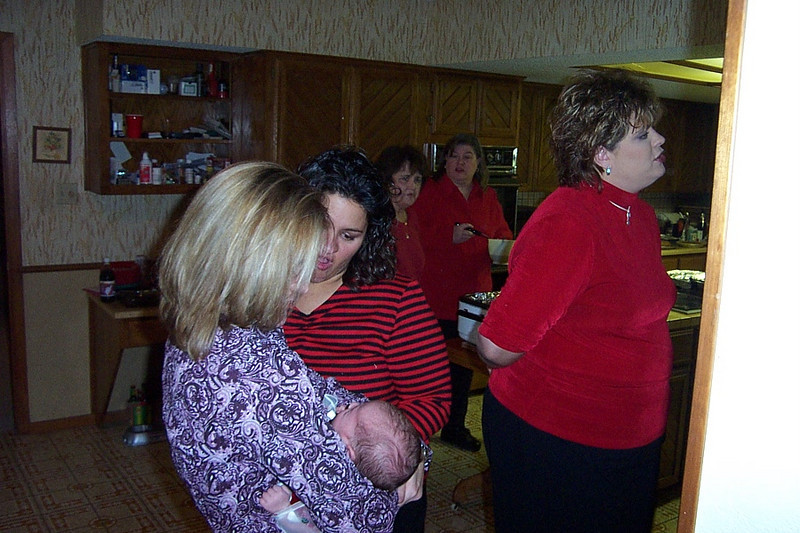 Christmas with the Pfeuffers.  In the foreground are my cousins Christy and Elizabeth (Frank's daughters) and Sharon (Billy's daughter).  In the background are my aunt Shirley and my sister Wendy.