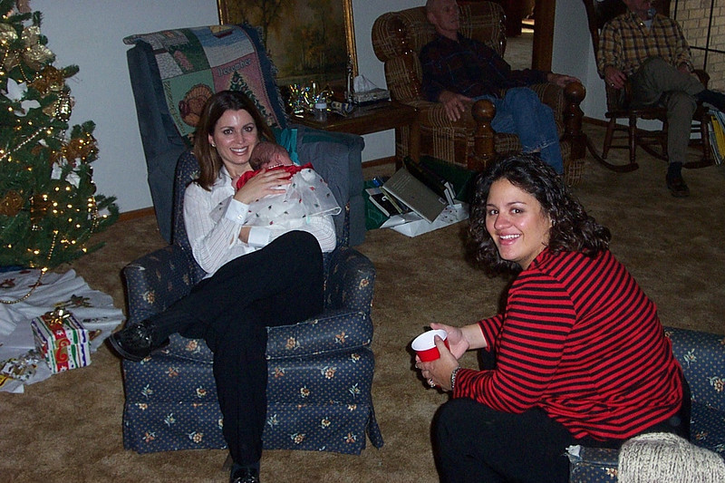 Christmas with the Pfeuffers.  My cousins Jennifer (left) and Elizabeth with their dad Frank seated in the background.