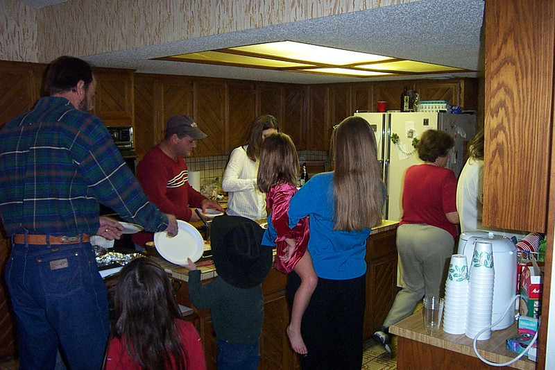 Christmas with the Pfeuffers.  My niece Jenna is in blue with her back to the camera.
