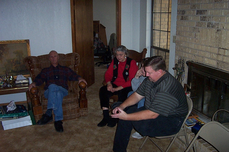 Christmas with the Pfeuffers.  Left to right, my uncle Franklin, my mom Betty, my nephew Josh, and my brother Mark.