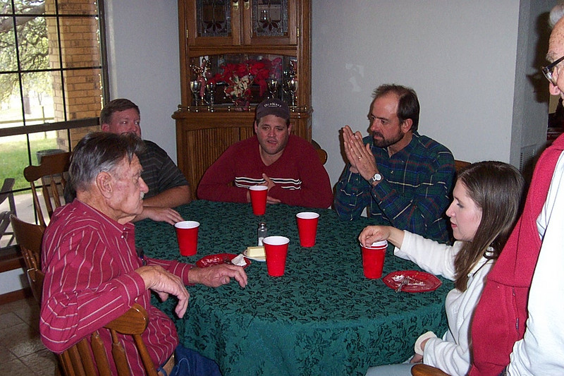 Christmas with the Pfeuffers.  My uncle Billy (at left) across the table from his son Ray and Ray's wife Sandra.