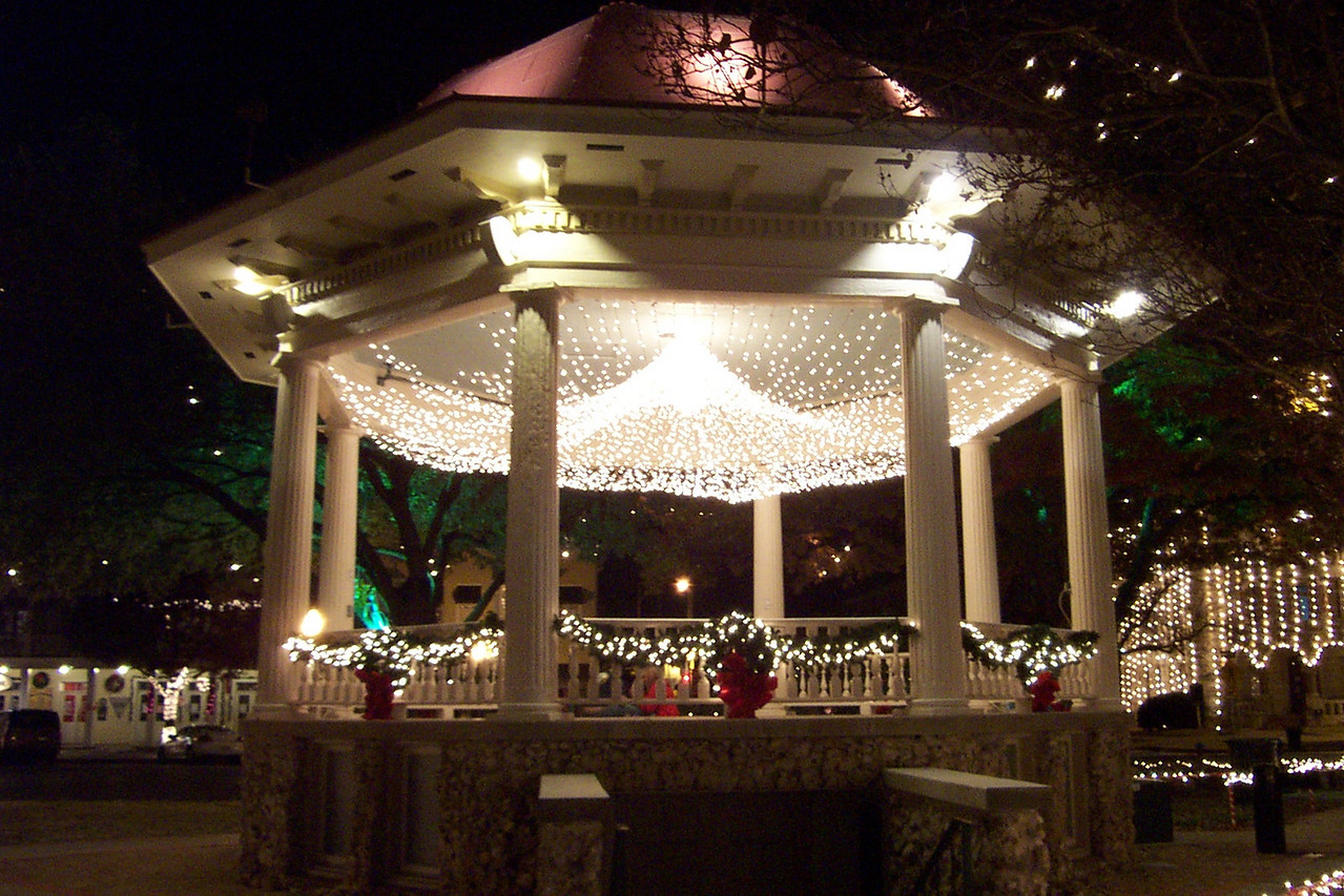 """They really do a nice lob on its decorations!  I love the """"chandelier"""" of Christmas lights that are hung inside it."""