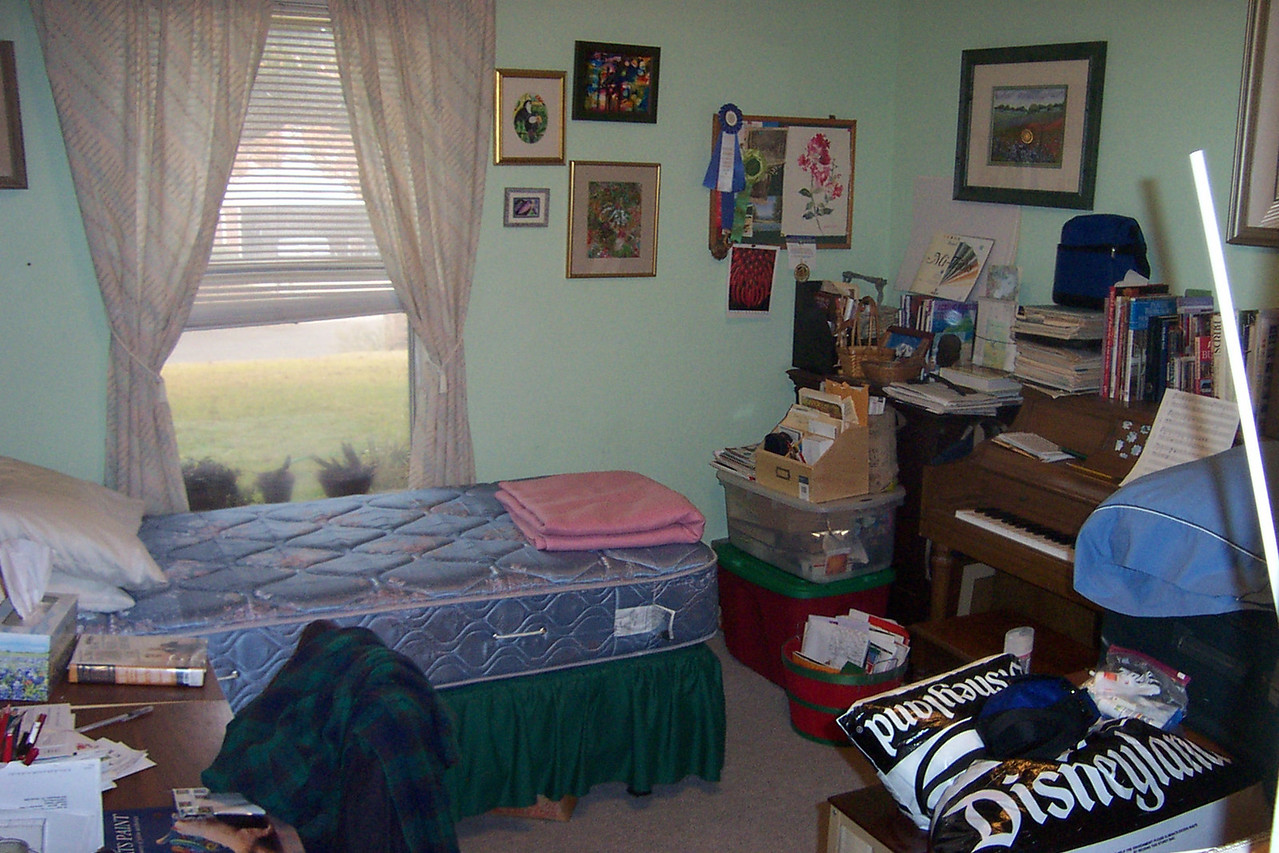 One of the small bedrooms is Dad's office, where he has his piano and stores all his music and art books.  When I visit, I usually sleep here.