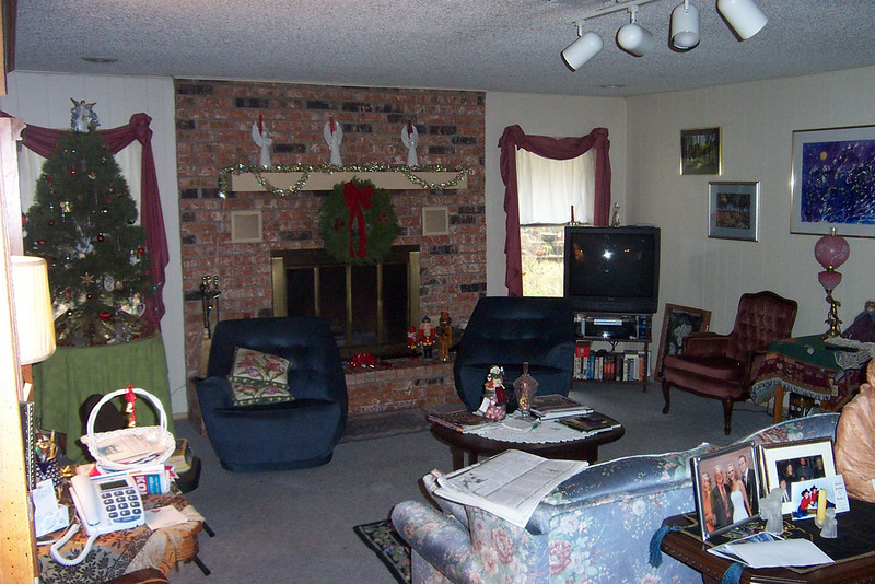 Here's the living room.  My Dad painted all the art hung on the right-side wall.