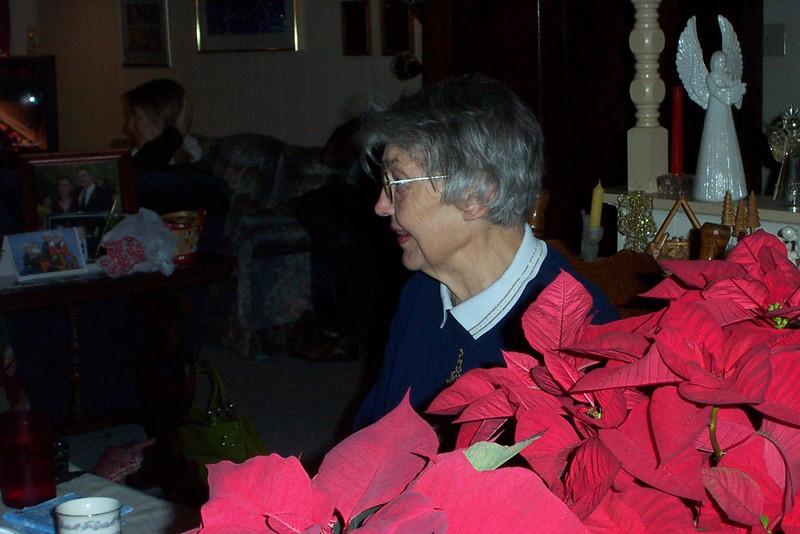 Mom amongst the pointsettias