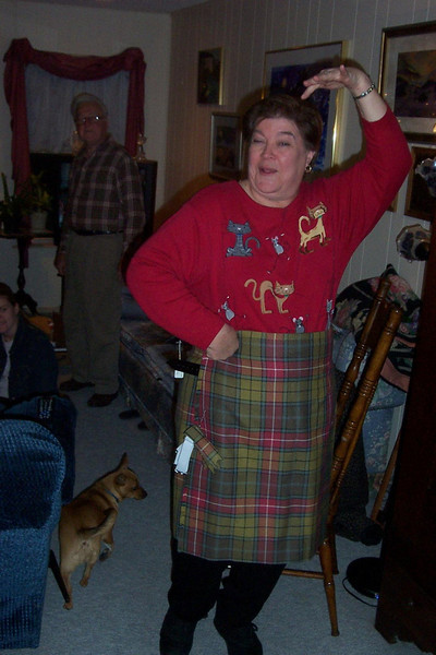 A highland lass!  A friend of Wendy's in Ukraine had the kilt custom made.  It couldn't be shipped there, so she agreed to take it to him.