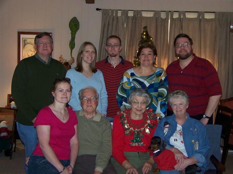 Back row, from left:  Mark, Kalyn, Josh, Wendy, Jon.  Front row, from left:  Jenna, Dad, Mom, Sheri and Oscar.