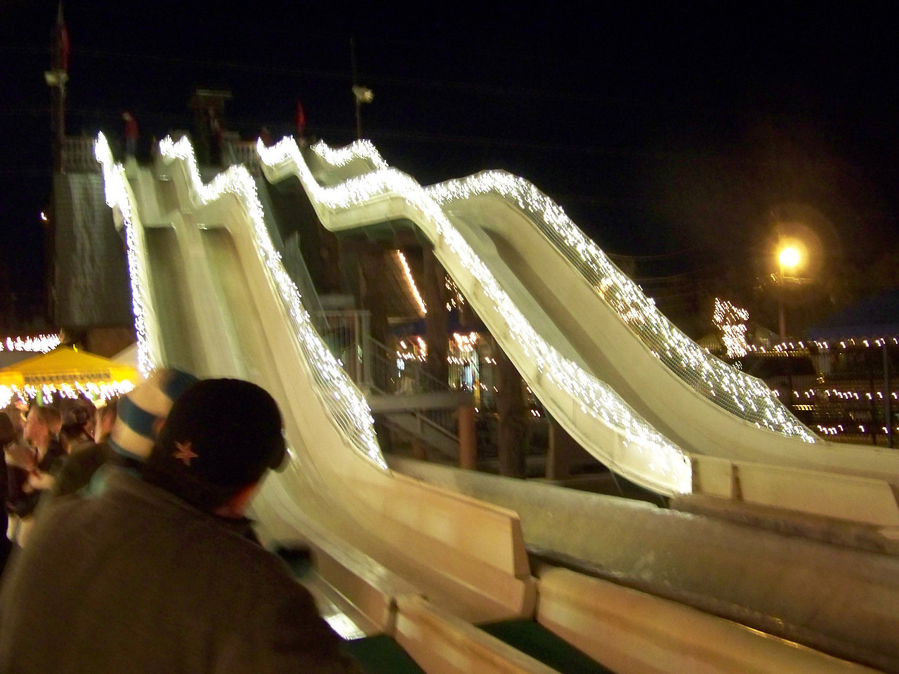 Several of the water slides were open as dry slides--you had to sit on a special mat in order to scoot smoothly.<br /> [Schlitterbahn's Hill Country Christmas 2009]