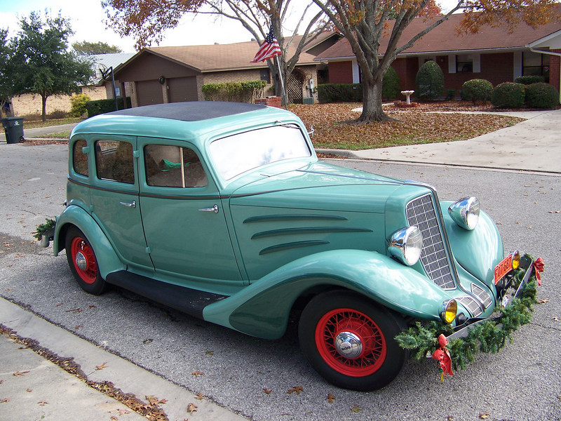 Sheri's 1934 Auburn antique car.  She had driven it in a Christmas parade earlier, which is why it was decorated with garland.