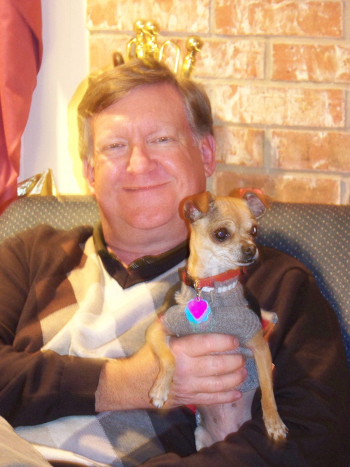 Mark and his dog Chica.  She's a really sweet dog--especailly for a chihuahua!