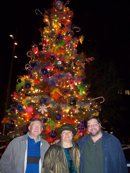 Mark, Wendy, and Jon with the Christmas tree in front of San Fernando Cathedral (not the best picture of any of us!).