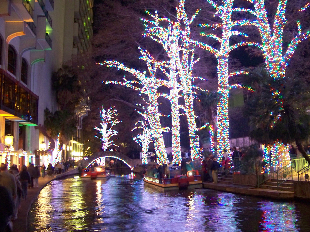 "San Antonio's River Walk is always decorated at Christmas.  This is the first year they used LED lights, which were wrapped around the tree trunks.  In the past, long strings of the big C9 lights were attached to the tops of the trees and hung straight down over the water (<b><a target=""_new"" href=""http://www.flickr.com/photos/jmtimages/3123833803/"">here's a photo of what that looked like</a></b>).  There was a lively debate among the locals about this change!"