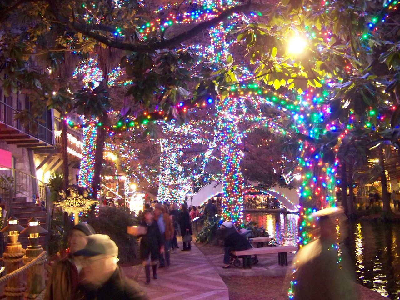 San Antonio River Walk Christmas lights.
