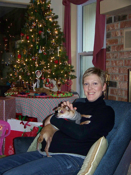 Kalyn (Josh's wife) holds Chica (Mark's chihuahua).  Kalyn was about two months away from giving birth to their second child, Jack.