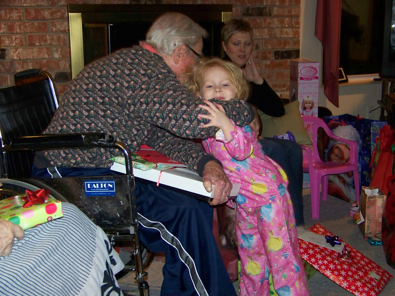 Embyr thanks her Great-Grandpa for a Christmas present.