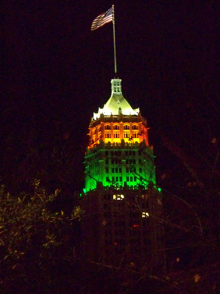 The Tower Life Building had special red and green lighting for Christmas.  This building opened in 1929, and is still an icon of the San Antonio skyline.