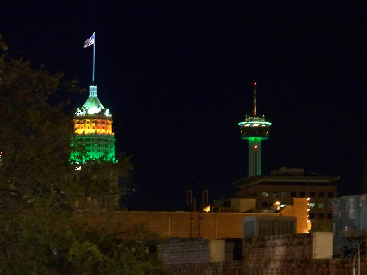 I took this shot from the top floor of the parking garage where we had left the car.  There's San Antonio's two tall icons--the Tower Life Building and the Tower of the Americas.