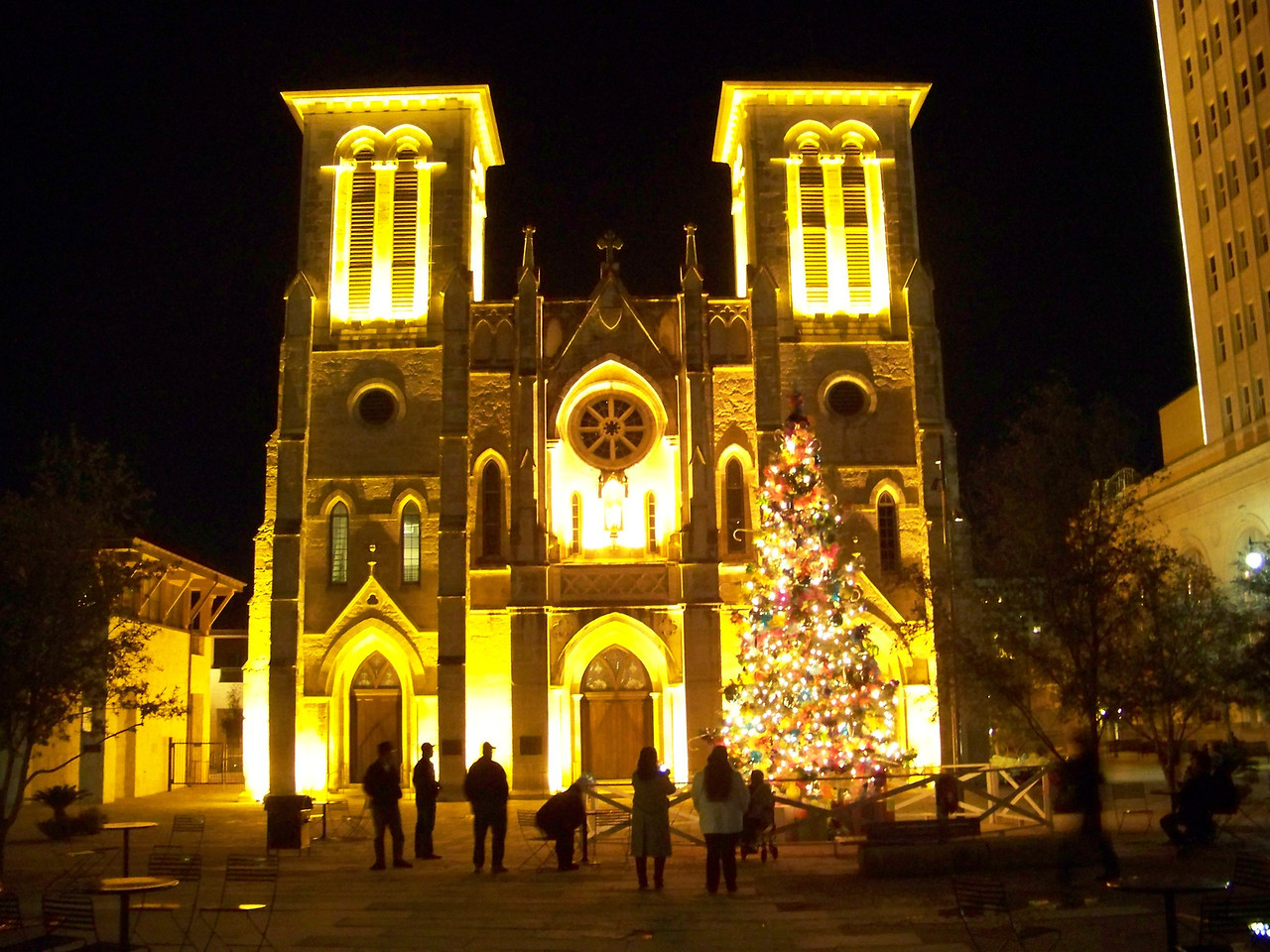 The historic San Fernando Cathedral is on another side of Main Plaza in San Antonio.