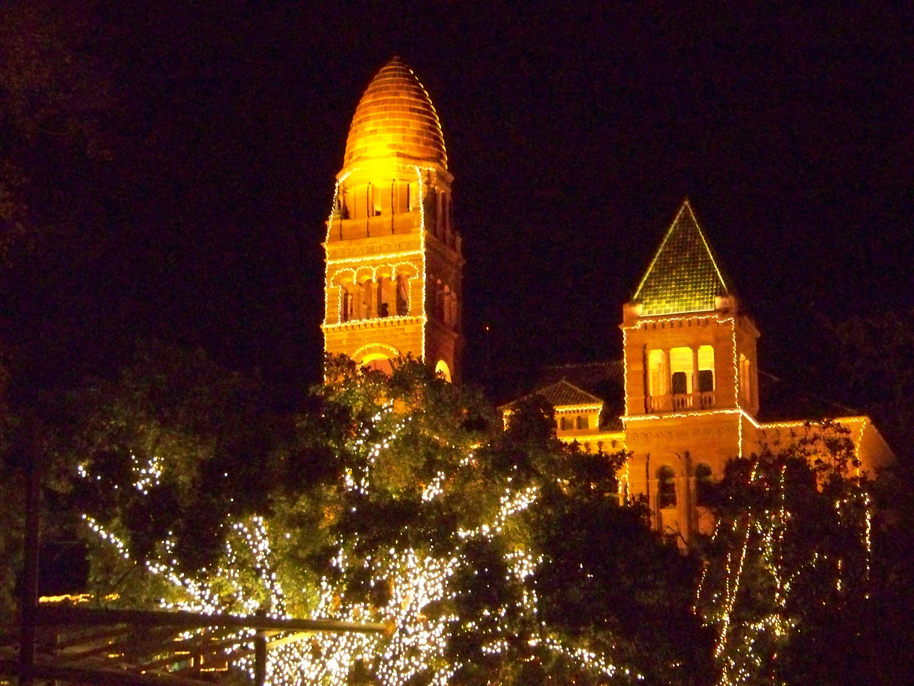 The towers of the Bexar County Courthouse (which is on one side of San Antonio's Main Plaza) were outlined in lights.