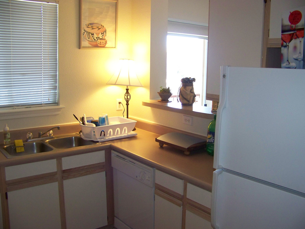 One side of the kitchen with the pass-through window.