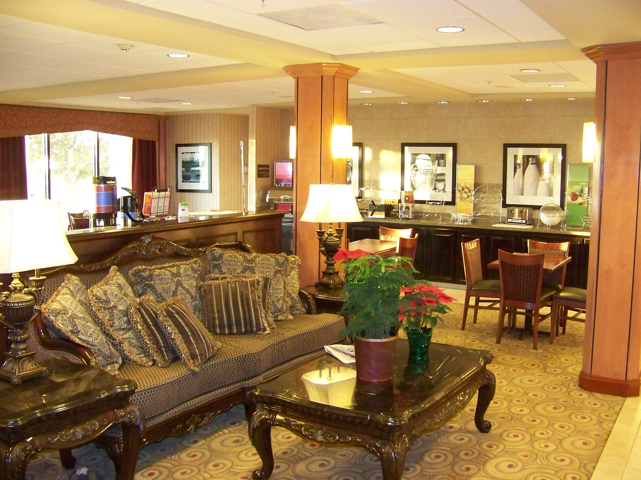 The nice lobby at the Hampton Inn in Eagle Pass.  Behind the couch was a self-serve beverage station that was open all day.  On the back wall is the bar where they set up the free breakfast buffet.