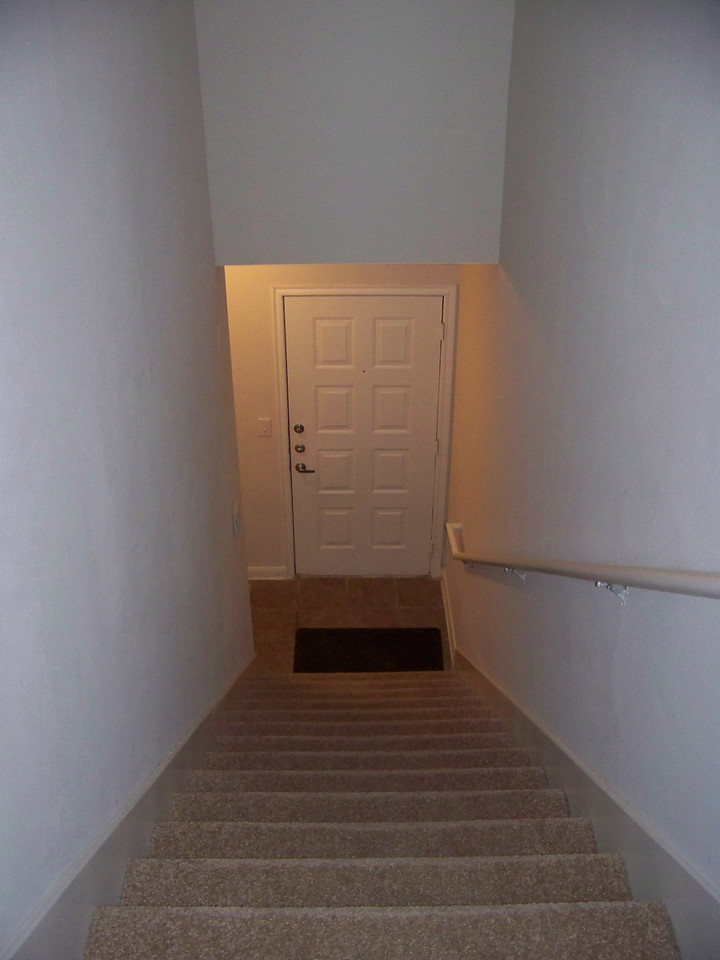 When you come in the front door at ground level, you have to climb a flight of stairs.