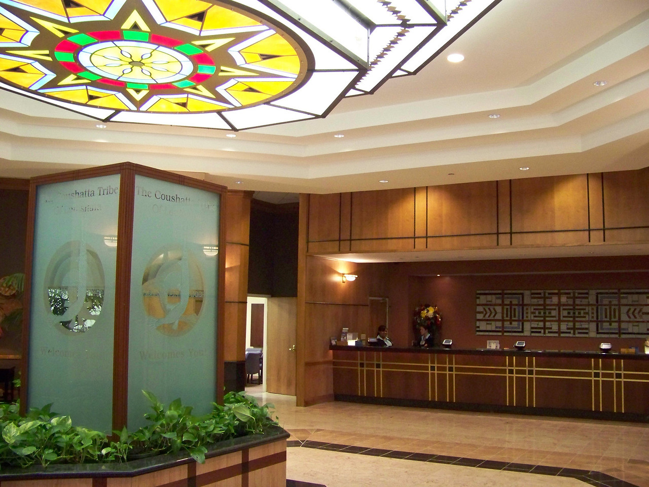 The lobby and hotel desk for the Grand Hotel at the Coushatta Casino Resort.