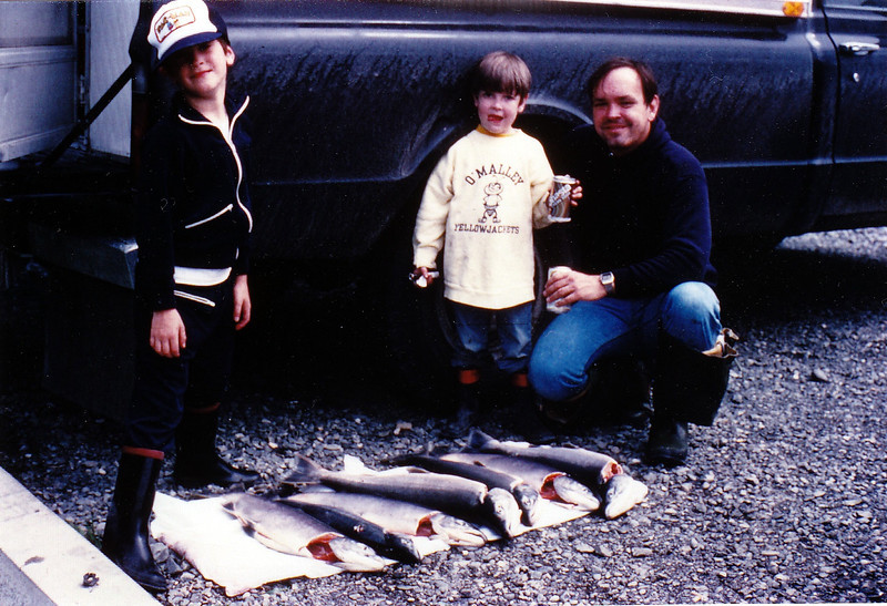 July 24, 1982 - (Russian River, Kenai Peninsula, Alaska) - Michael, Jonathon, & David after catching their limit of Salmon