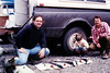 July 24, 1982 - (Russian River, Kenai Peninsula, Alaska) - David, Jonathon, & David Fuller after catching their limit of Salmon