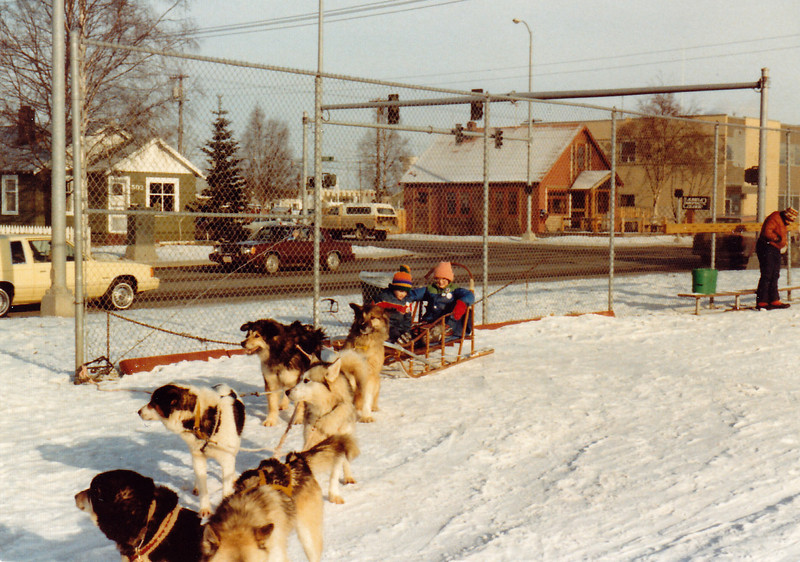 February 21, 1981 - (Anchorage, Alaska) - Michael & Cristen on dogsled ride at annual Fur Rendezvous Festival.