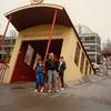 Jonathon, Andrew, David, and Michael in front of subway entrance near Naturmuseum Senckenberg [Natural History Museum] - (December 26, 1988 / Frankfurt am Main, Hesse, West Germany) -- Jonathon, Andrew, David, and Michael