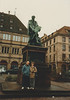 David & MaryAnne at the Gutenberg Statue (January 6, 1989 / Gutenberg Place, Strasbourg, Bas-Rhin département, Alsace, France) -- David & MaryAnne