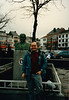 David in front of the General McAuliffe statue (January 13, 1989 / Bastogne, Walloon, Luxembourg province, Ardennes, Belgium) -- David
