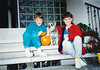 Andrew, Max, & Jonathon with Halloween pumpkin (October 31, 1990 / Obere Hohl, Gimsbach, Rheinland-Pfalz, West Germany) -- Andrew, Max, & Jonathon