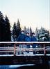Michael, Jonathon & Andrew [snow on ski caps] on bridge over waterfall that overlooks Neuschwanstein Castle (November 24, 1990 / Hohenschwangau, Schwangau, Ostallgäu district, Bavaria, Germany) -- Michael, Jonathon & Andrew